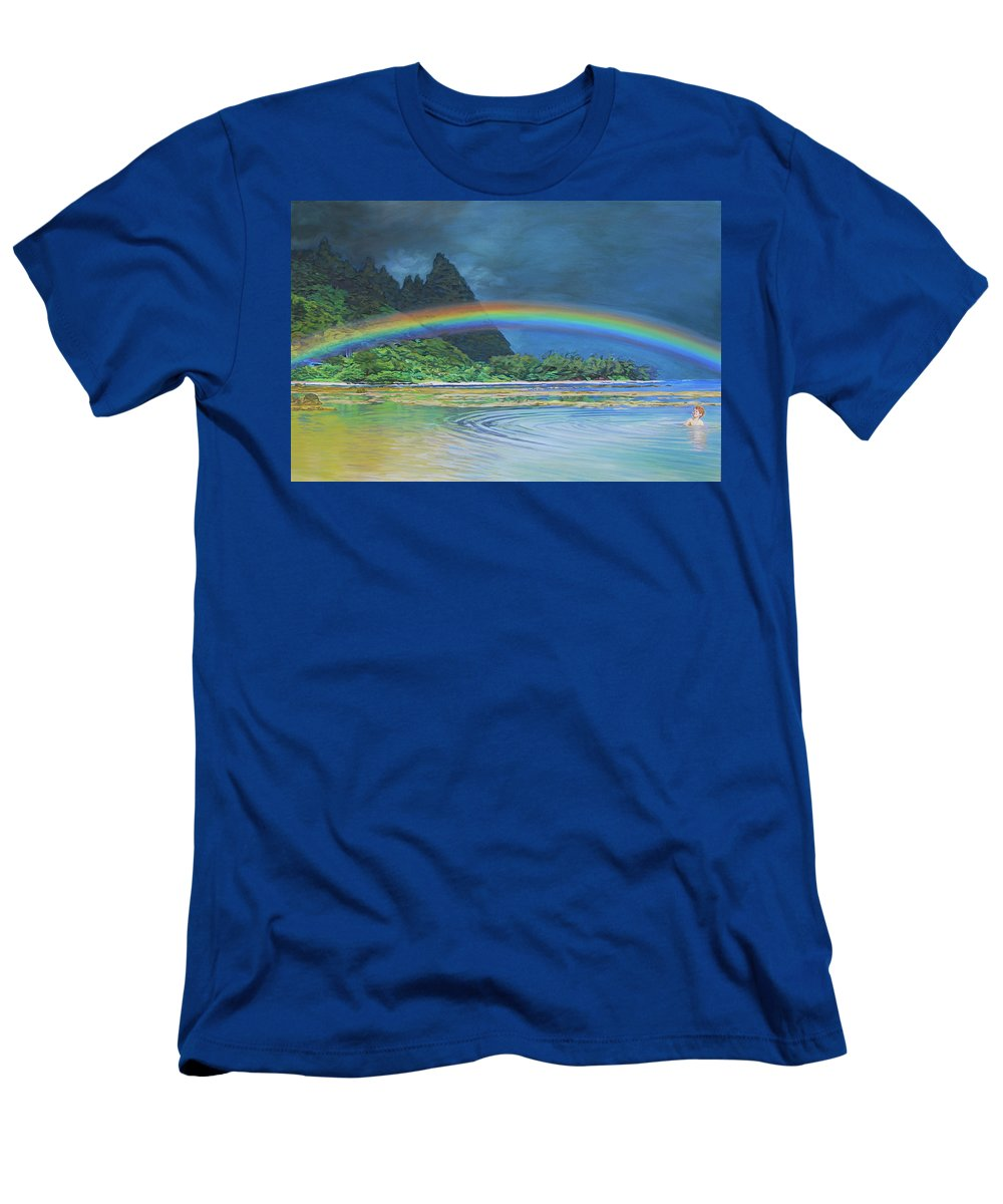 Rainbow Men's T-Shirt (Athletic Fit) featuring the painting Hawaiian Rainbow by Tommy Midyette