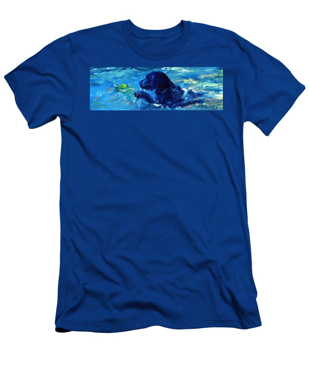 Black Labrador Men's T-Shirt (Athletic Fit) featuring the painting Here I Come by Sheila Wedegis