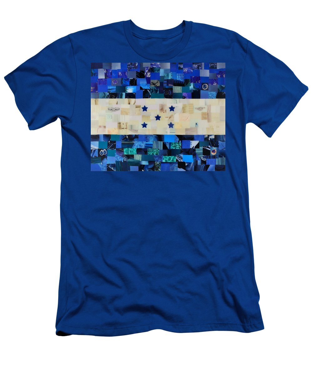 Honduras Flag Men's T-Shirt (Athletic Fit) featuring the mixed media Honduras Flag by Claudia Di Paolo