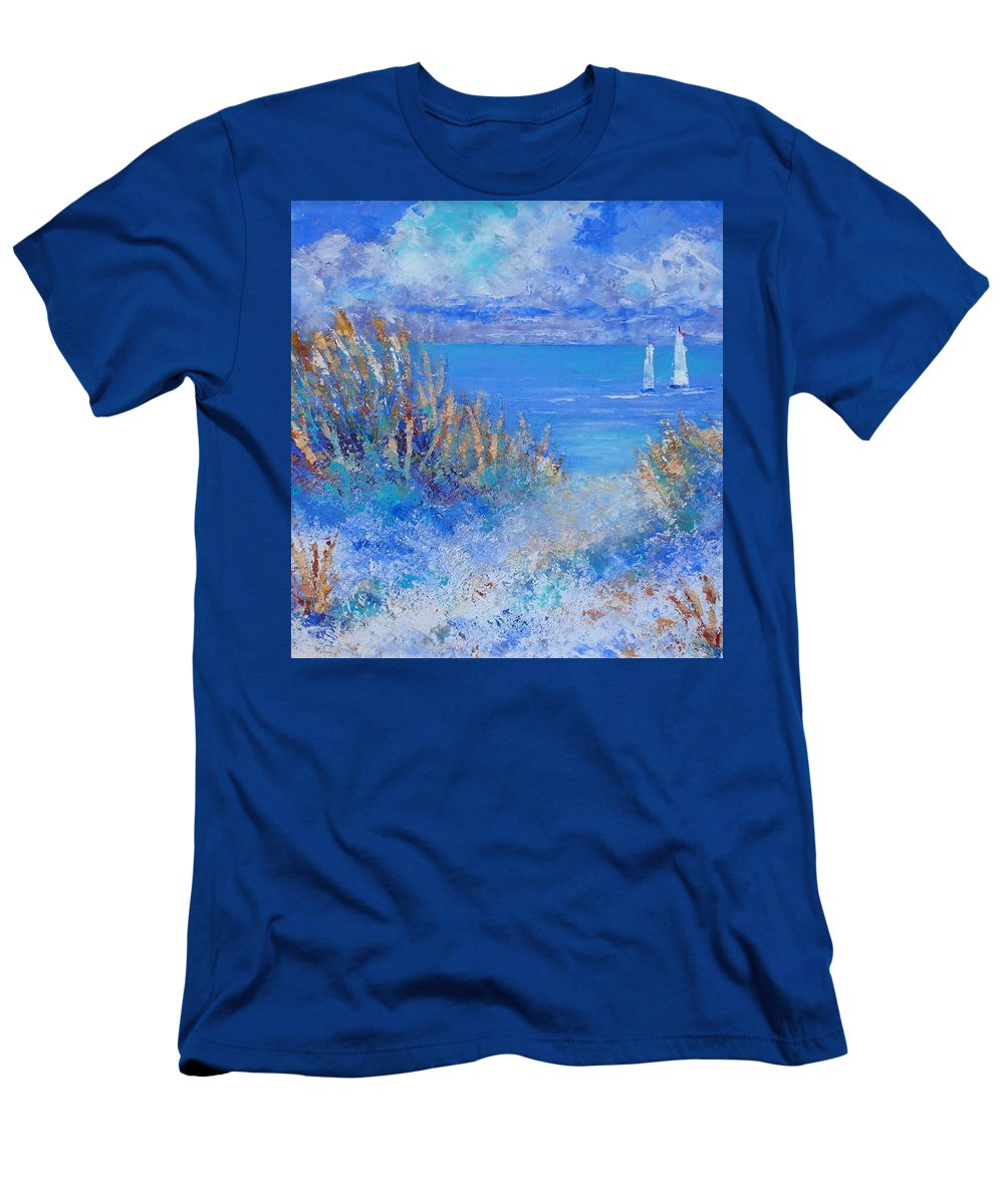 Seascape Men's T-Shirt (Athletic Fit) featuring the painting Honeymoon Island by Shirley Weidenhamer