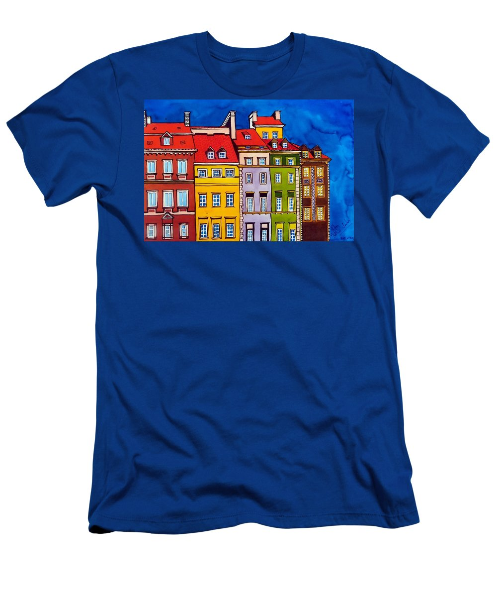 Houses Men's T-Shirt (Athletic Fit) featuring the painting Houses In The Oldtown Of Warsaw by Dora Hathazi Mendes