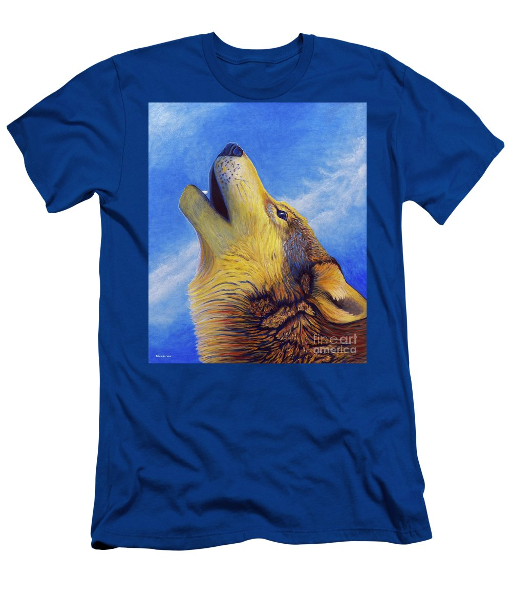 Wolf Men's T-Shirt (Athletic Fit) featuring the painting Howl by Brian Commerford