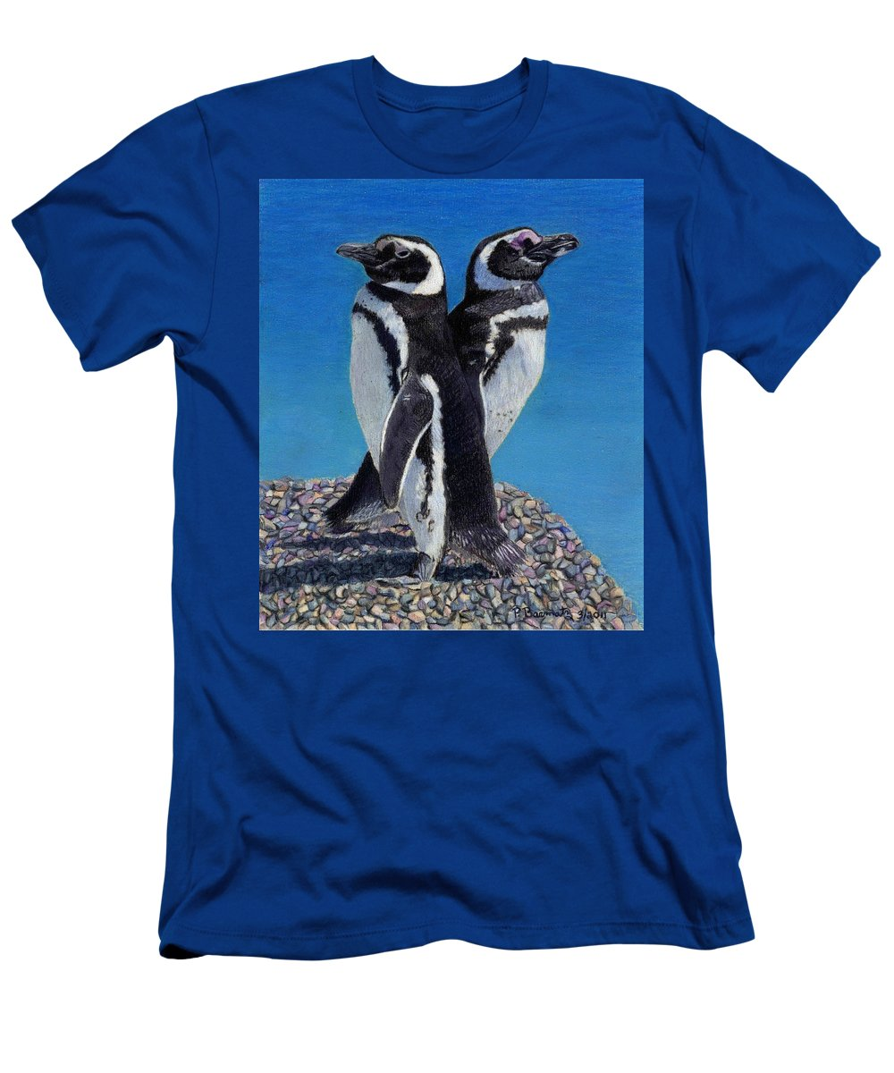 Penguins Men's T-Shirt (Athletic Fit) featuring the painting I'm Not Talking To You - Penguins by Patricia Barmatz
