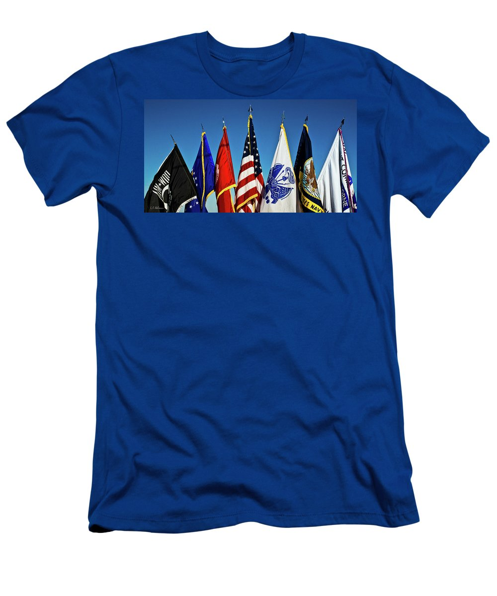 Flag Men's T-Shirt (Athletic Fit) featuring the photograph In Service by Christopher Holmes