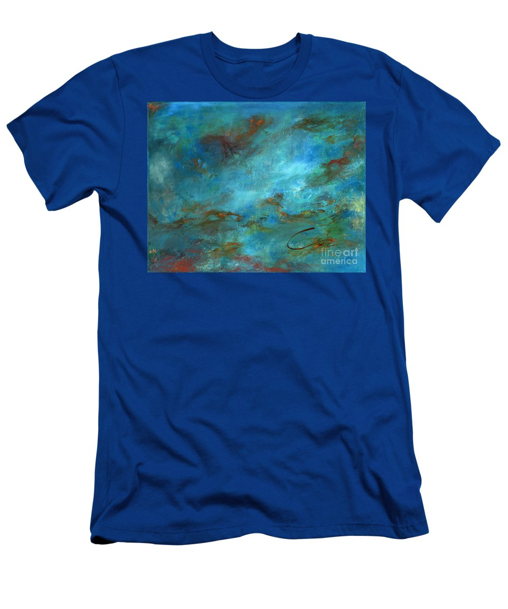 Impressionistic Seascape Men's T-Shirt (Athletic Fit) featuring the painting In The Deep by Sharon Abbott-Furze