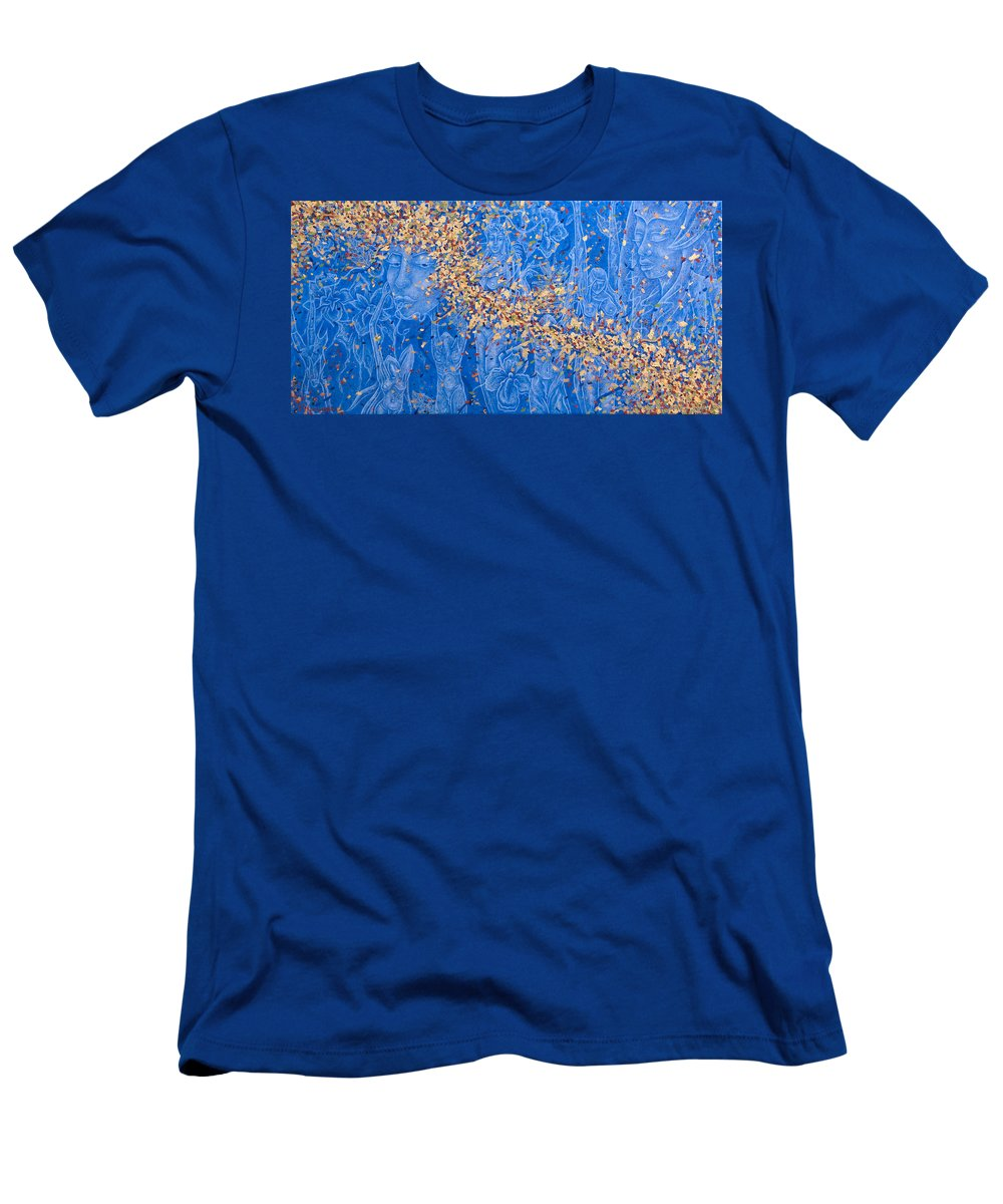 Waterfall Men's T-Shirt (Athletic Fit) featuring the painting In The Falls by Judy Henninger