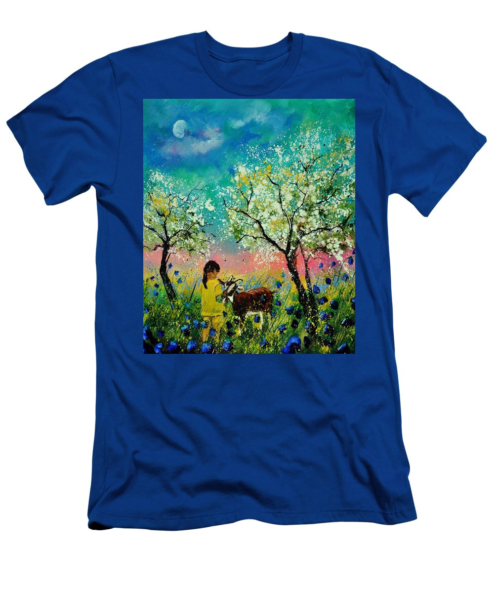 Landscape T-Shirt featuring the painting In the orchard by Pol Ledent