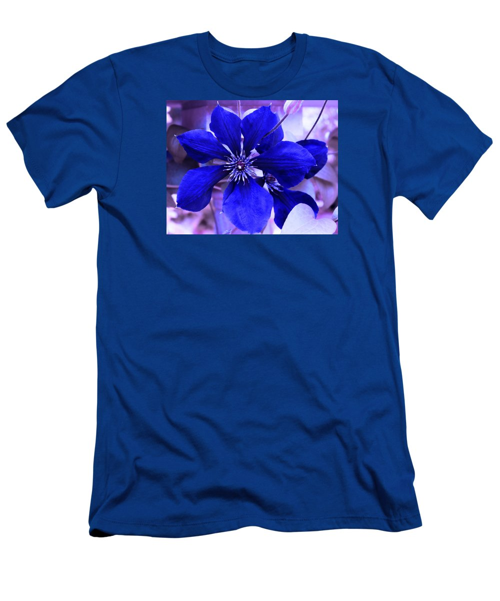 Blue Flower Men's T-Shirt (Athletic Fit) featuring the photograph Indigo Flower by Milena Ilieva