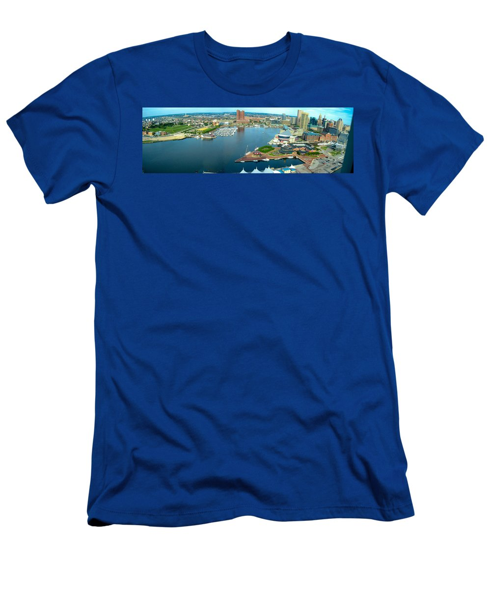 Baltimore Men's T-Shirt (Athletic Fit) featuring the photograph Inner Harbor Baltimore Panorama by Thomas Marchessault