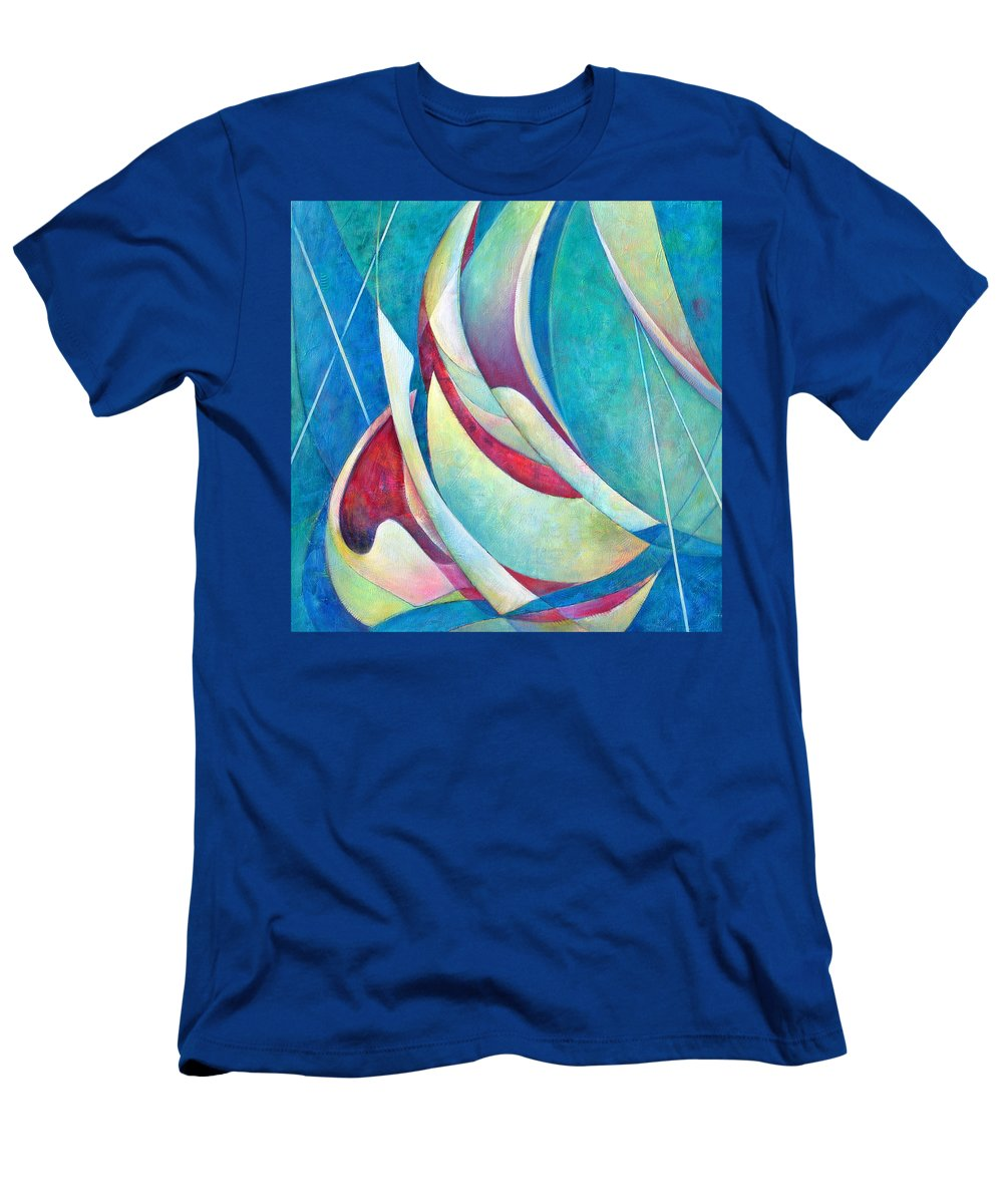 Sea Men's T-Shirt (Athletic Fit) featuring the painting Into The Breeze by Susanne Clark