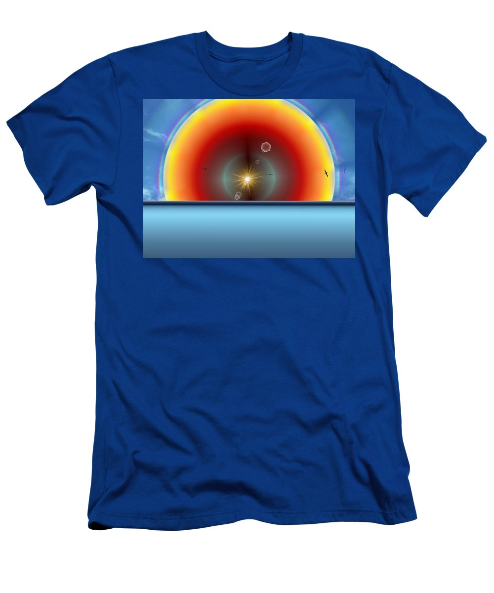 Sun Men's T-Shirt (Athletic Fit) featuring the digital art Into The Eye Of The Sunset by Tim Allen