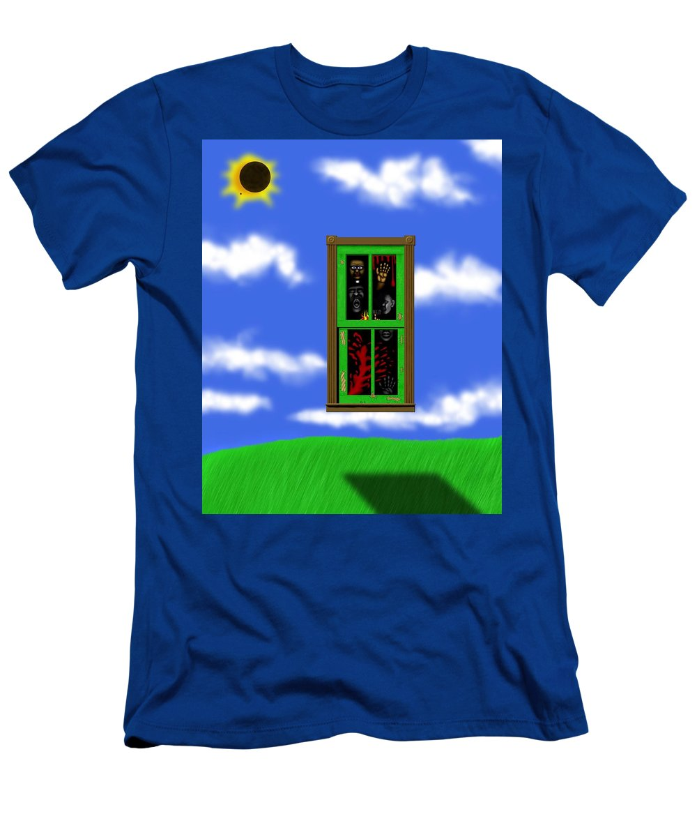 Surrealism T-Shirt featuring the digital art Into The Green Window by Robert Morin