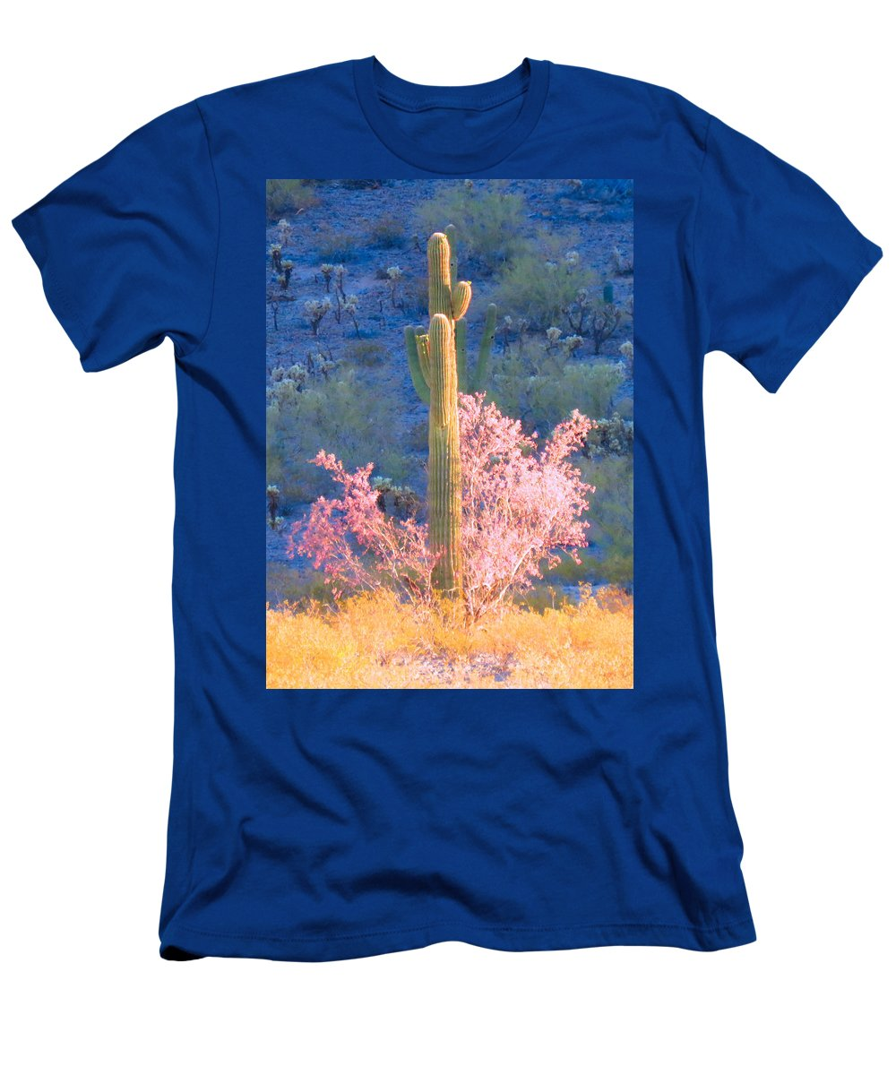 Arizona Men's T-Shirt (Athletic Fit) featuring the photograph Ironwood Saguaro Dance by Judy Kennedy