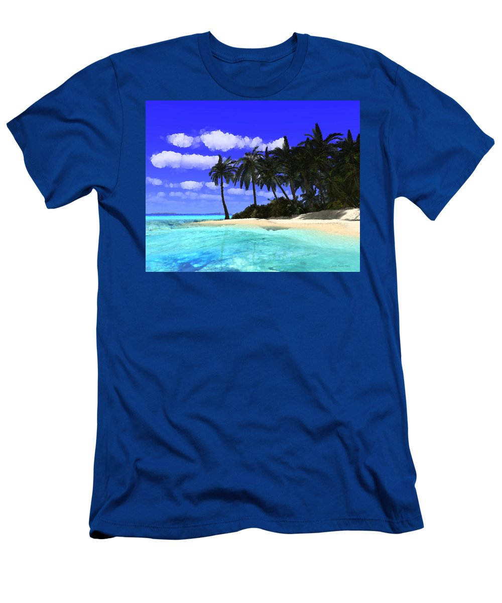 Tropical Island Men's T-Shirt (Athletic Fit) featuring the digital art Island With Palm Trees by Judi Suni Hall