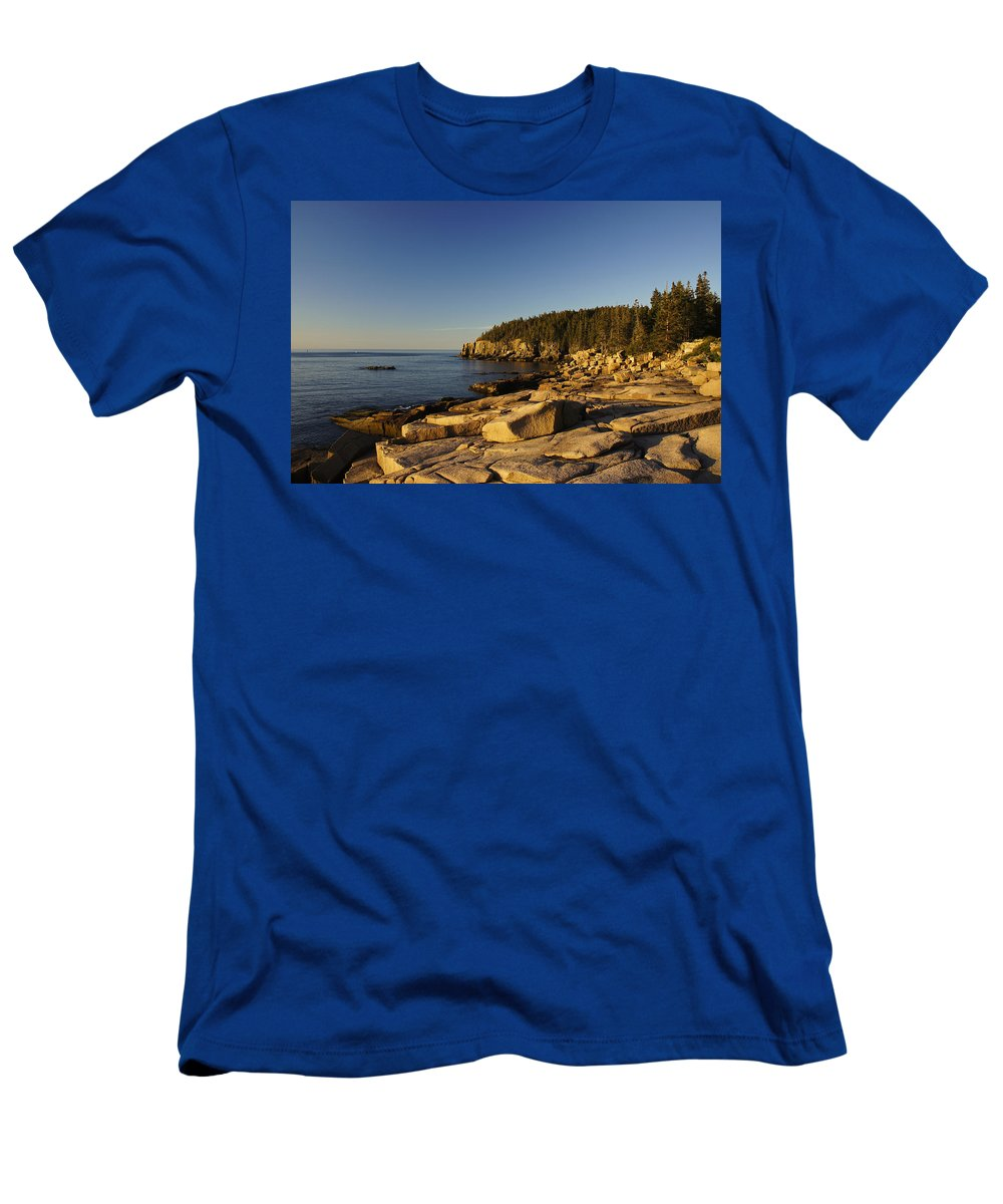 Acadia Men's T-Shirt (Athletic Fit) featuring the photograph Jagged Coast Of Maine by Brian Kamprath