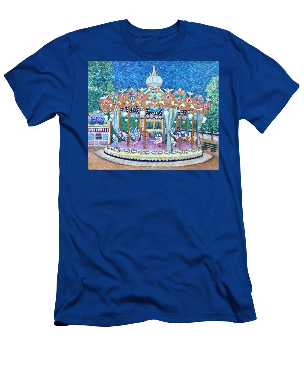 Carousel Men's T-Shirt (Athletic Fit) featuring the mixed media Jardin Des Tuileries Carrousel by Dulcie Dee