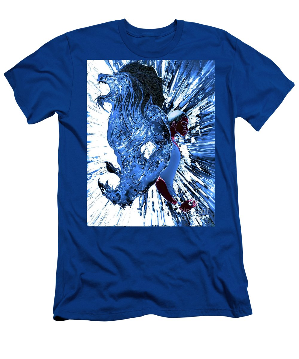 Men's T-Shirt (Athletic Fit) featuring the drawing Jd And Leo- Inverted Ice Blue by Javon Dixon