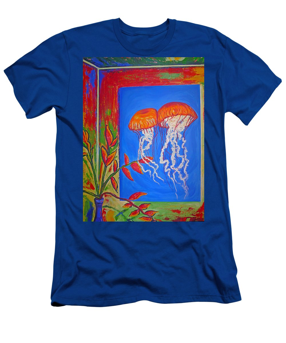 Jellyfish Men's T-Shirt (Athletic Fit) featuring the painting Jellyfish With Flowers by Ericka Herazo