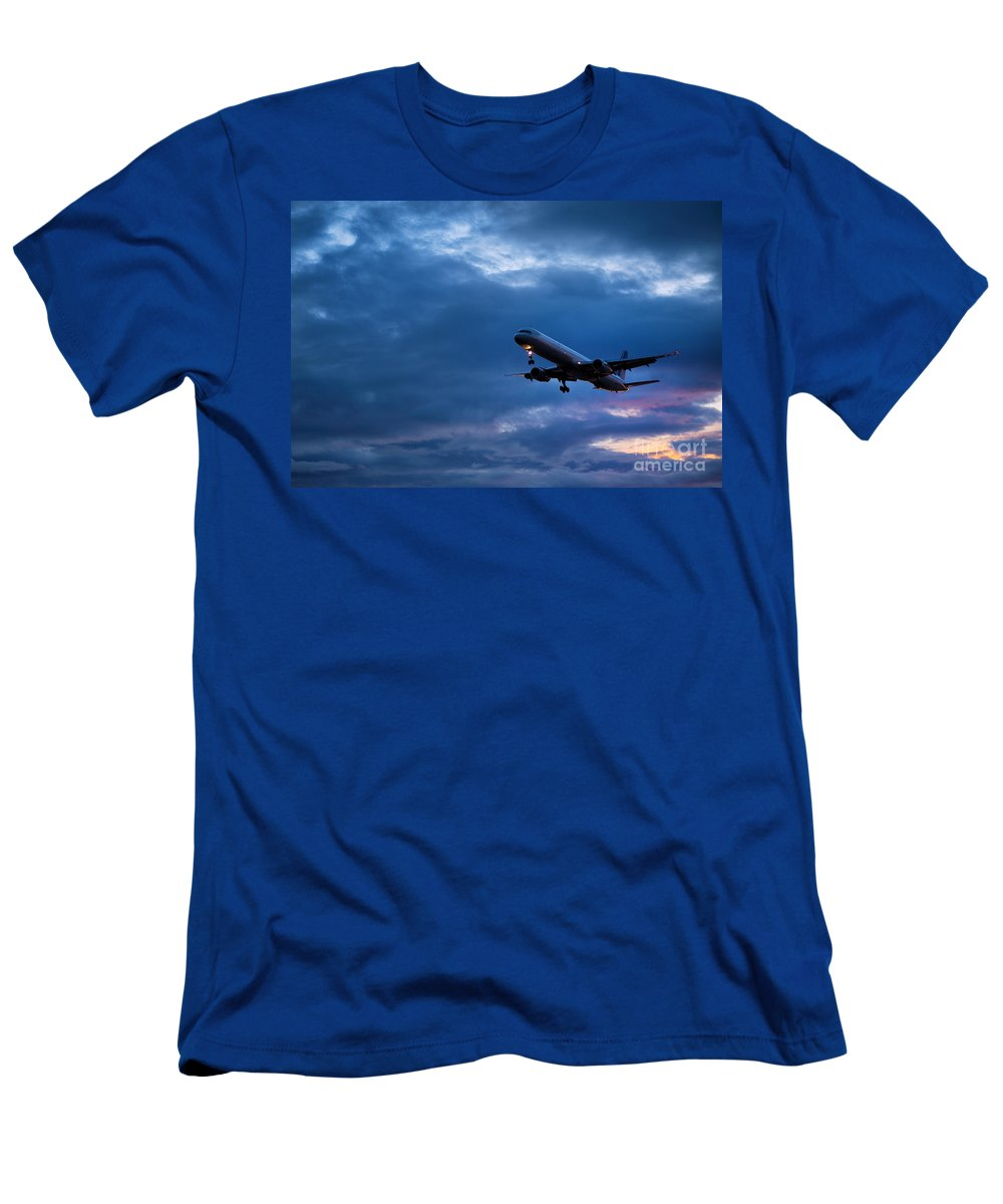Travel Men's T-Shirt (Athletic Fit) featuring the photograph Jet Airlpane In Flight by John Greim