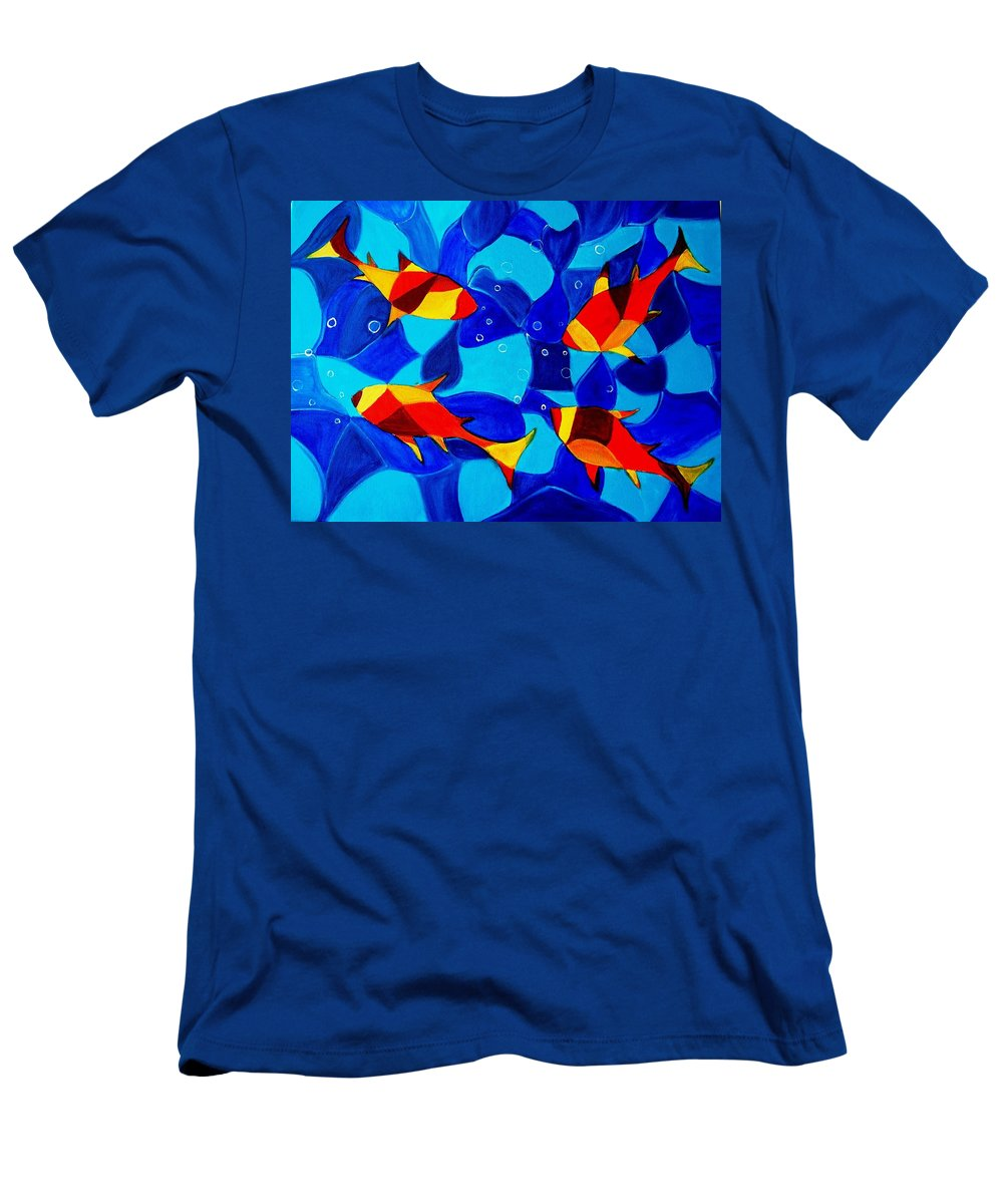 Abstract.acrylic.fish.bubbles.art.painting.modern.contemporary.popblue Red Bubbles Yellow Landscape Men's T-Shirt (Athletic Fit) featuring the painting Joy Fish Abstract by Manjiri Kanvinde