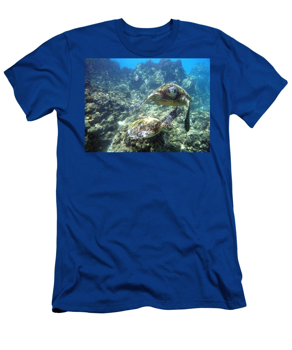 Sea Turtles Men's T-Shirt (Athletic Fit) featuring the photograph Just The Two Of Us by Angie Hamlin