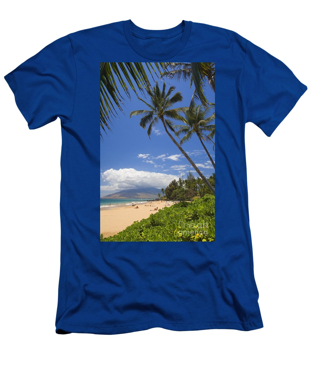 Beach Men's T-Shirt (Athletic Fit) featuring the photograph Kamaole Beach by Ron Dahlquist - Printscapes