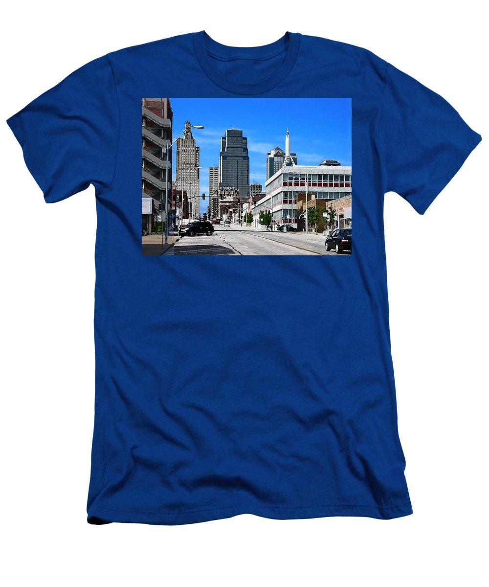 City Scape Men's T-Shirt (Athletic Fit) featuring the photograph Kansas City Cross Roads by Steve Karol