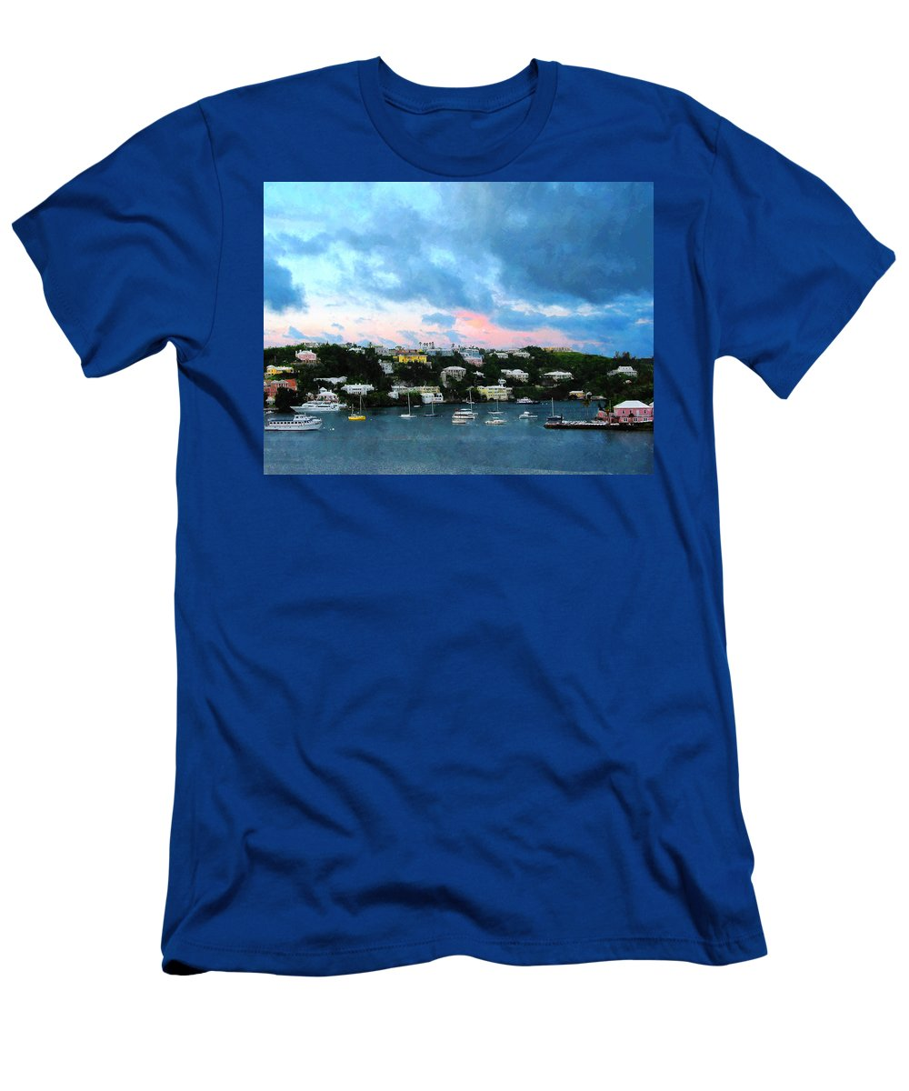 Boat Men's T-Shirt (Athletic Fit) featuring the photograph King's Wharf Bermuda Harbor Sunrise by Susan Savad