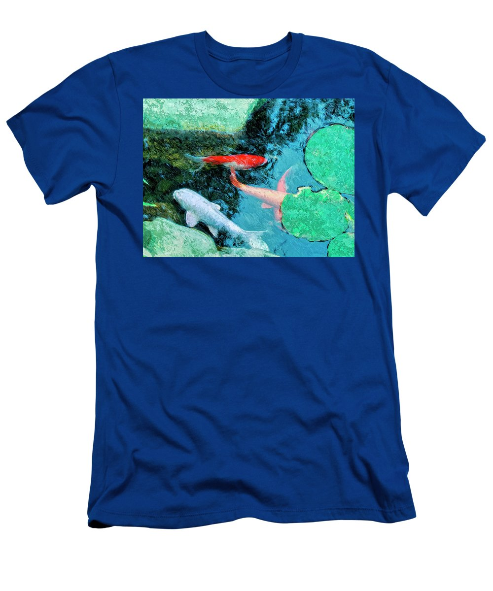 Koi Men's T-Shirt (Athletic Fit) featuring the painting Koi Pond 4 by Dominic Piperata