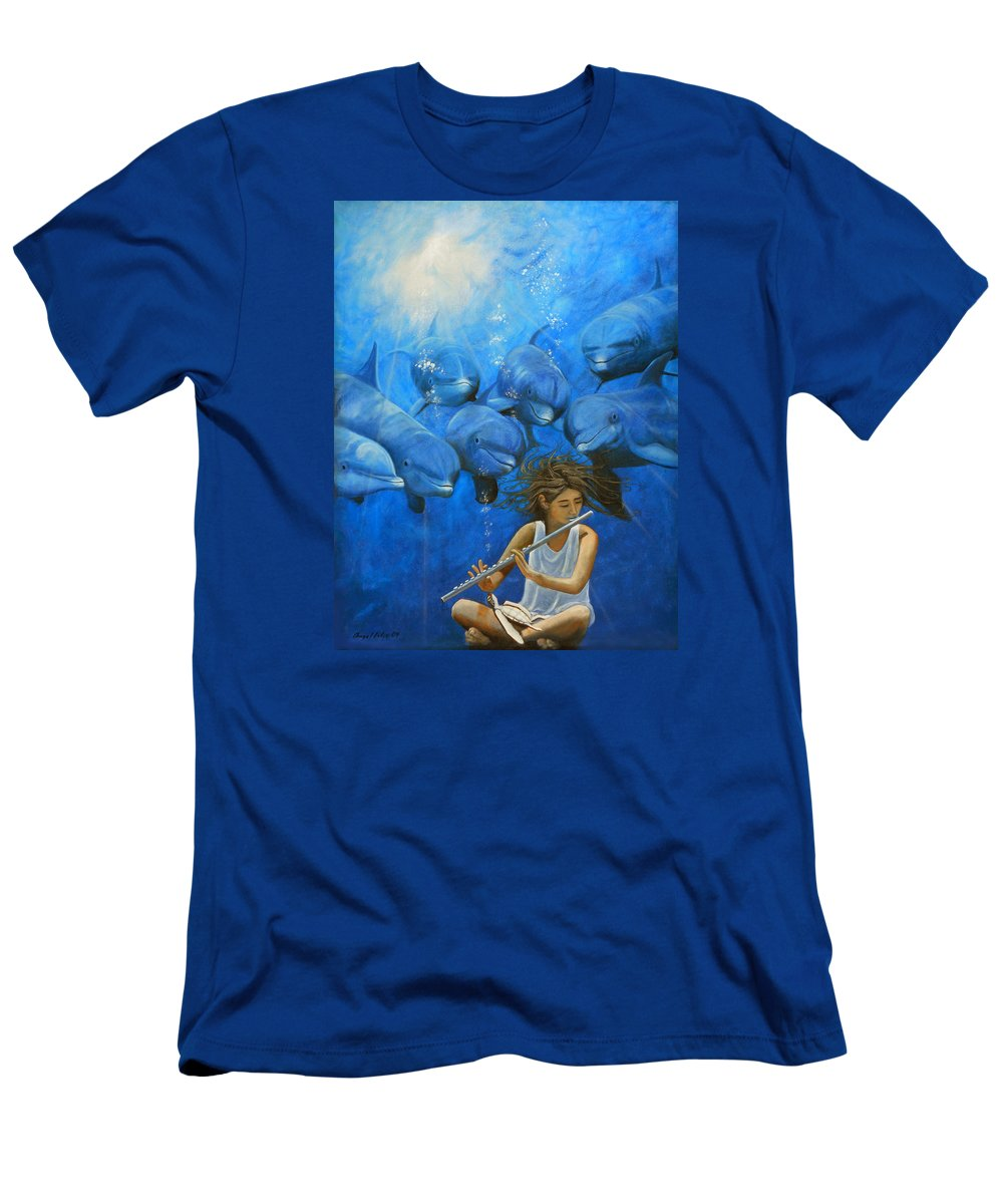 Flautista Men's T-Shirt (Athletic Fit) featuring the painting La Flautista by Angel Ortiz