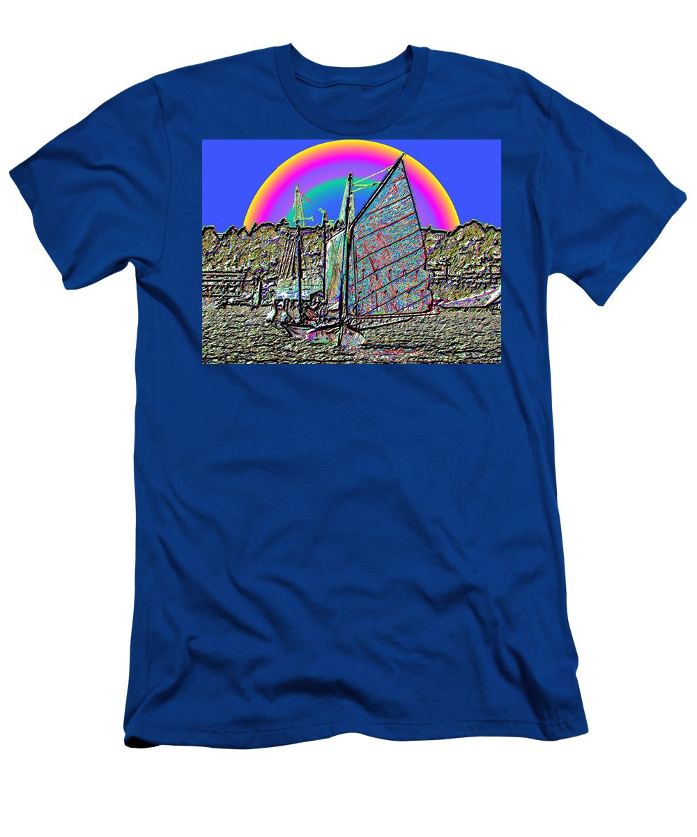 Seattle Men's T-Shirt (Athletic Fit) featuring the photograph Lake Union Rainbow Sail by Tim Allen