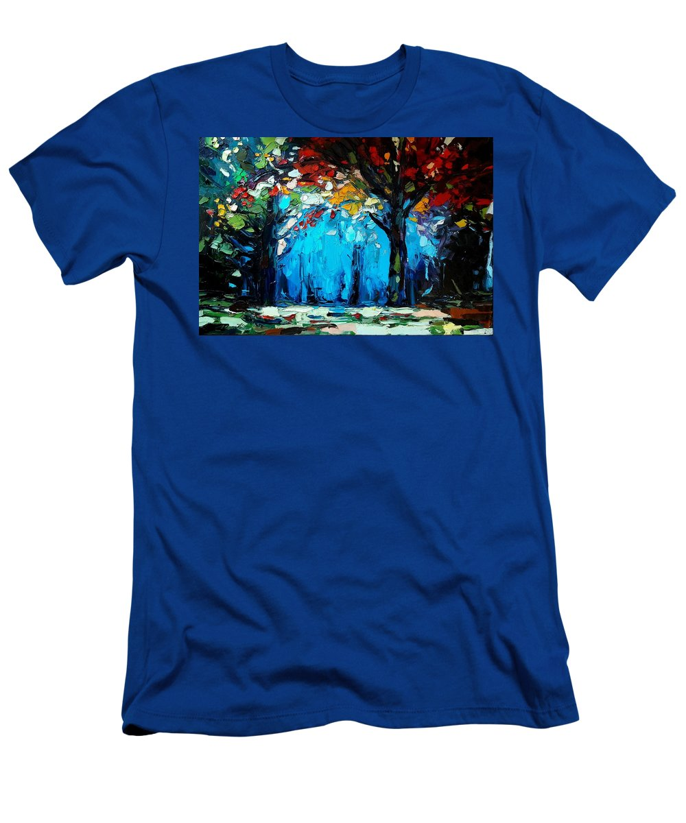 Landscape Men's T-Shirt (Athletic Fit) featuring the painting Landscape by Mentor Berisha