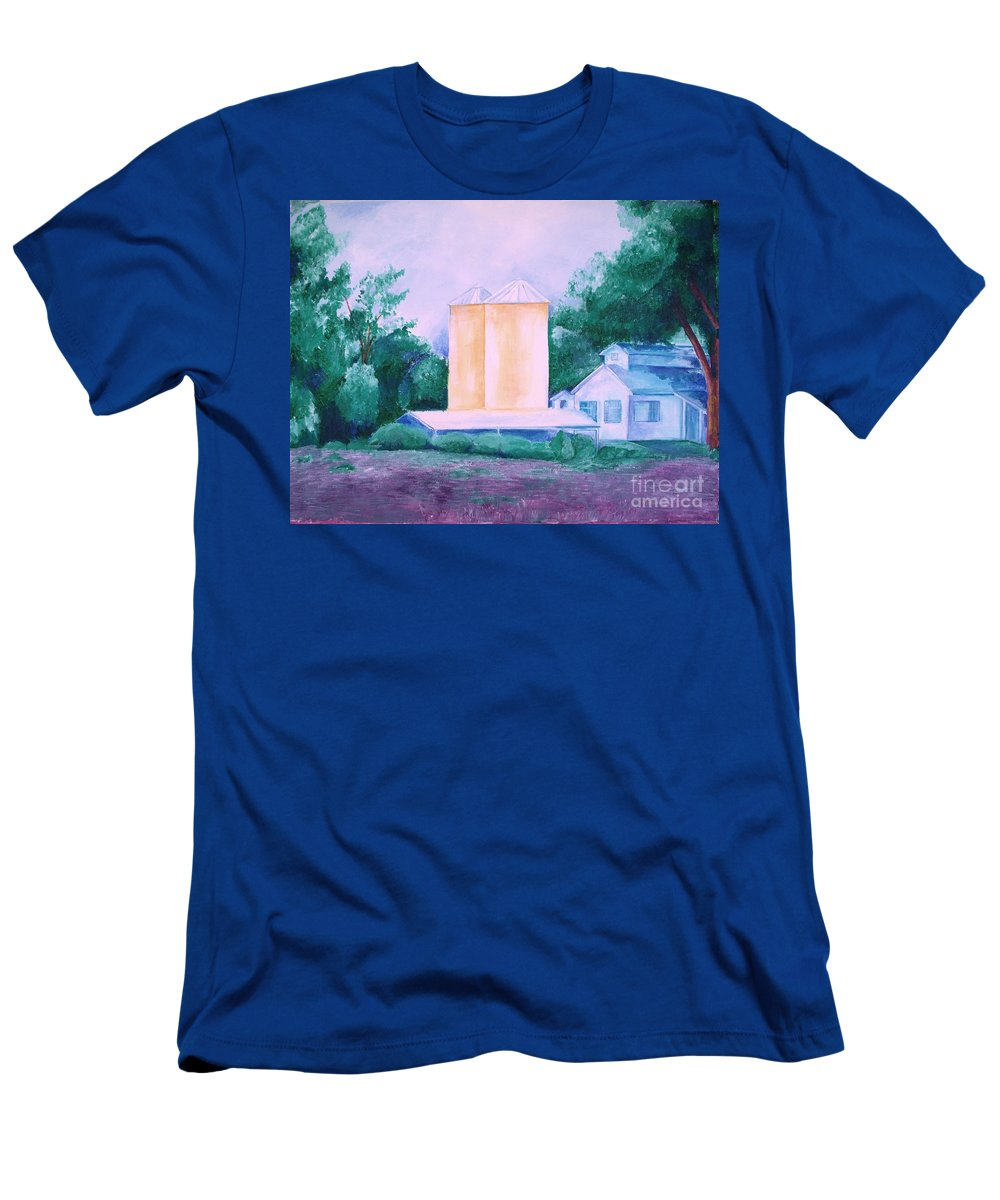 Western Men's T-Shirt (Athletic Fit) featuring the painting Lavender Farm Albuquerque by Eric Schiabor