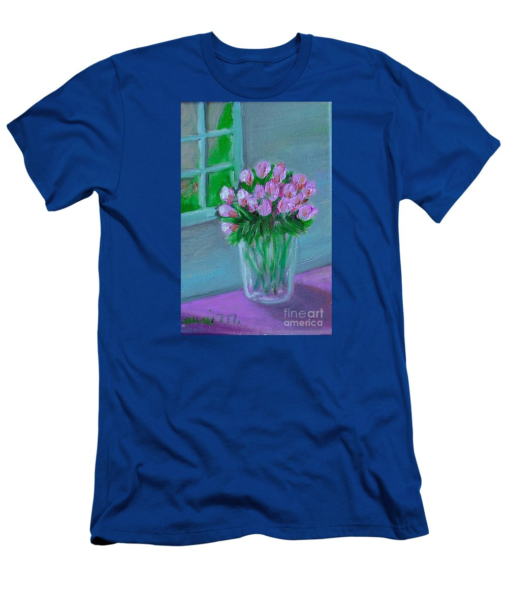 Rose T-Shirt featuring the painting Leslie's Roses by Laurie Morgan