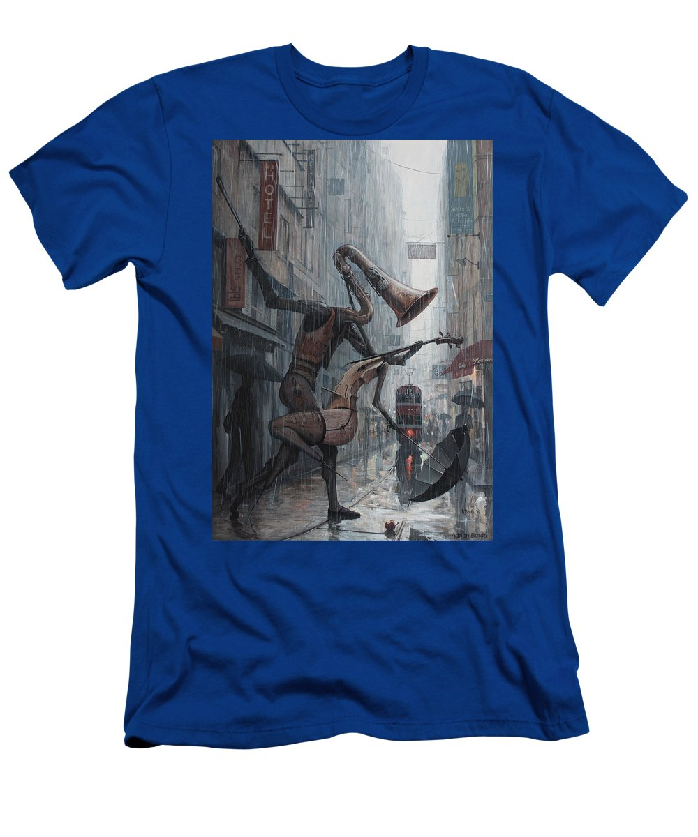 Life T-Shirt featuring the painting Life is dance in the rain by Adrian Borda