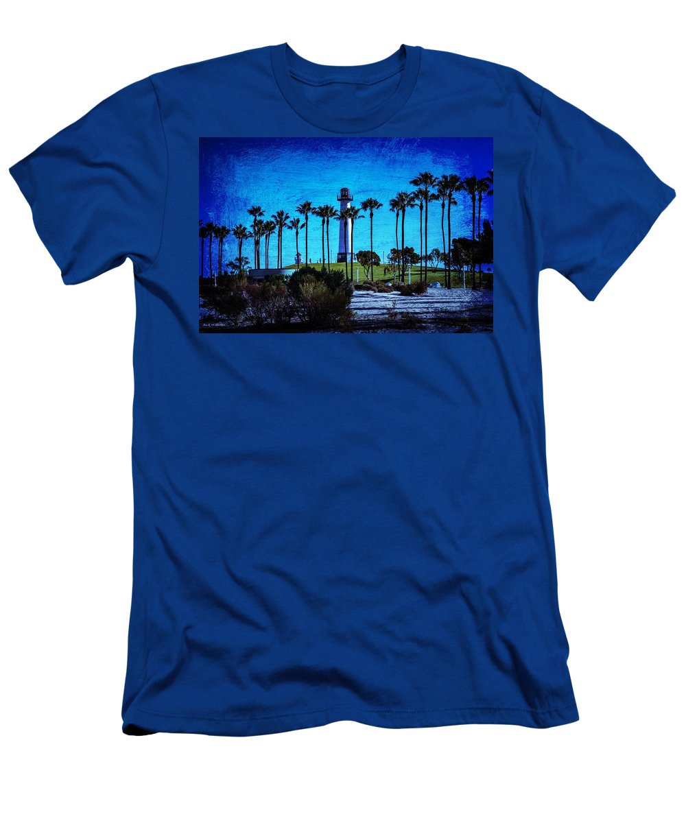 Beach Men's T-Shirt (Athletic Fit) featuring the photograph Lighthouse, Blue Lb by John R Williams