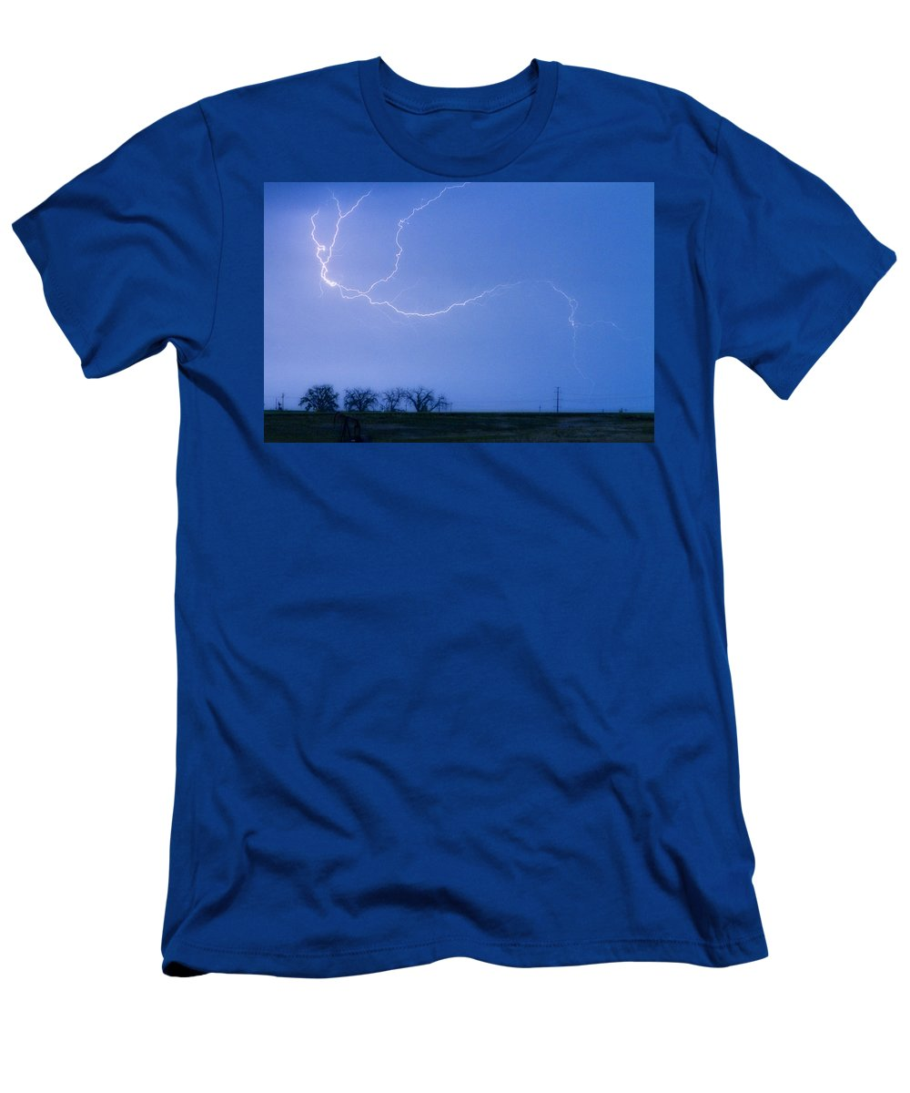 Colorado Men's T-Shirt (Athletic Fit) featuring the photograph Lightning Crawler by James BO Insogna
