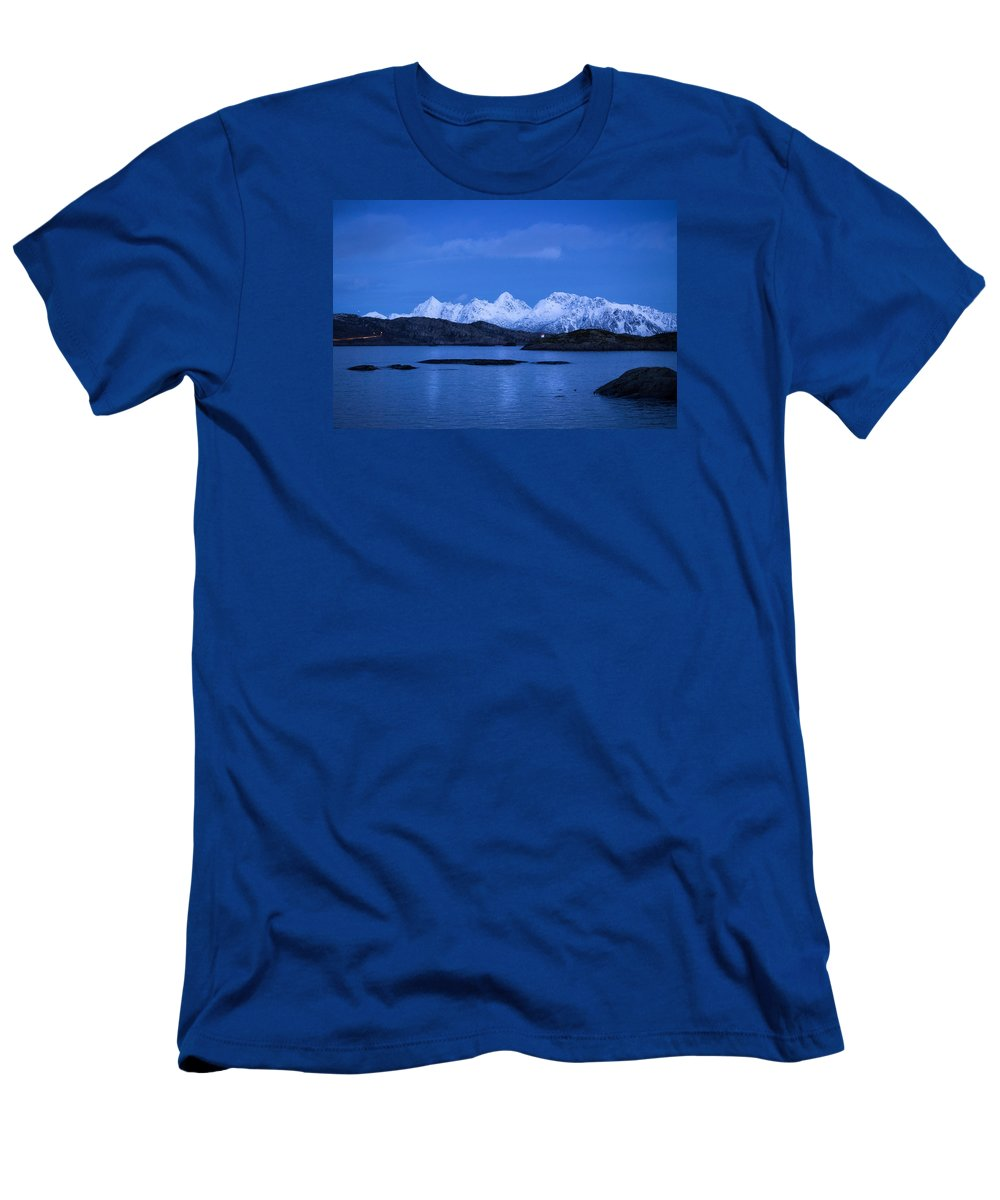 Norway Men's T-Shirt (Athletic Fit) featuring the photograph Lonely Lighthouse by Mark Llewellyn