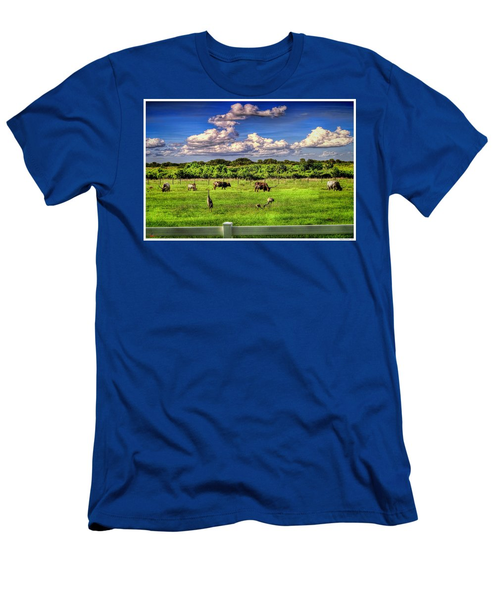 Florida Men's T-Shirt (Athletic Fit) featuring the mixed media Longhorns At The Ranch by Rogermike Wilson
