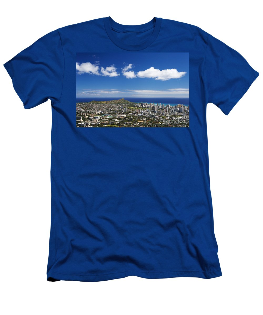 Above Men's T-Shirt (Athletic Fit) featuring the photograph Lookout View Of Honolulu by Greg Vaughn - Printscapes