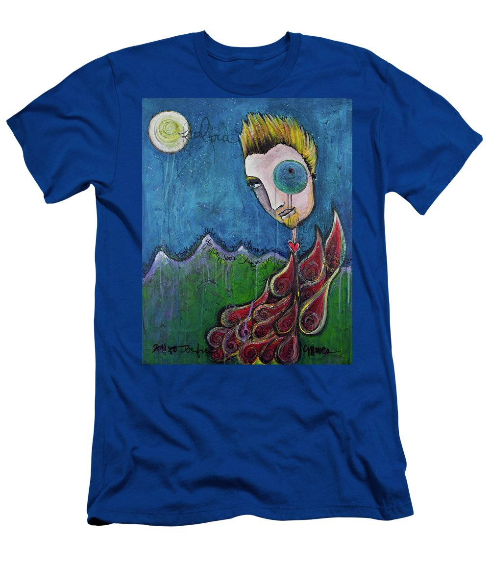Birdman Men's T-Shirt (Athletic Fit) featuring the painting Love For Birdman by Laurie Maves ART