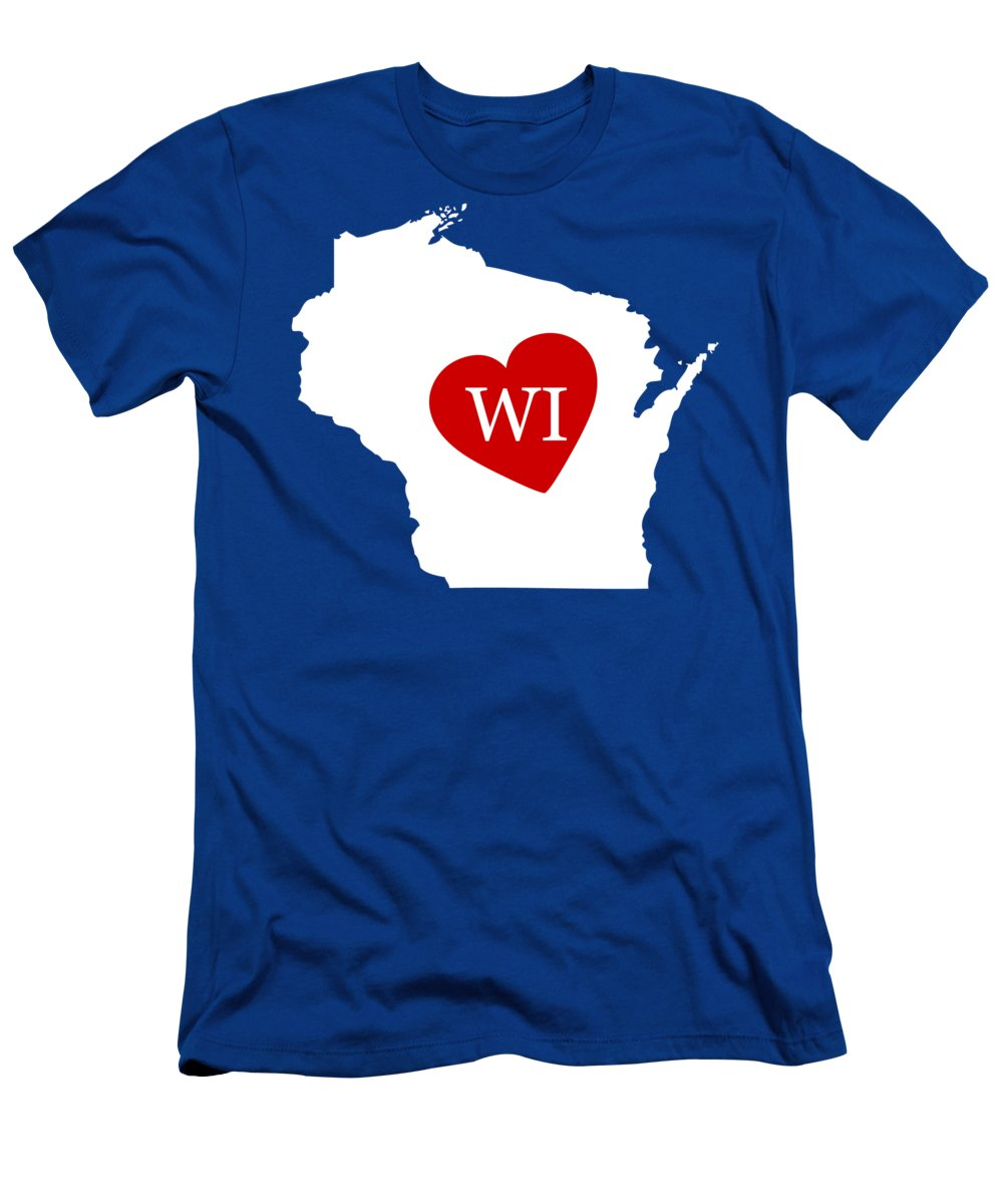 Wisconsin Men's T-Shirt (Athletic Fit) featuring the digital art Love Wisconsin White by Custom Home Fashions