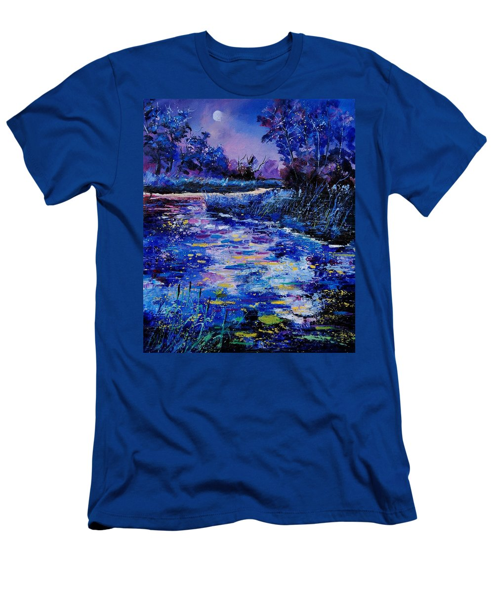 River Men's T-Shirt (Athletic Fit) featuring the painting Magic Pond by Pol Ledent