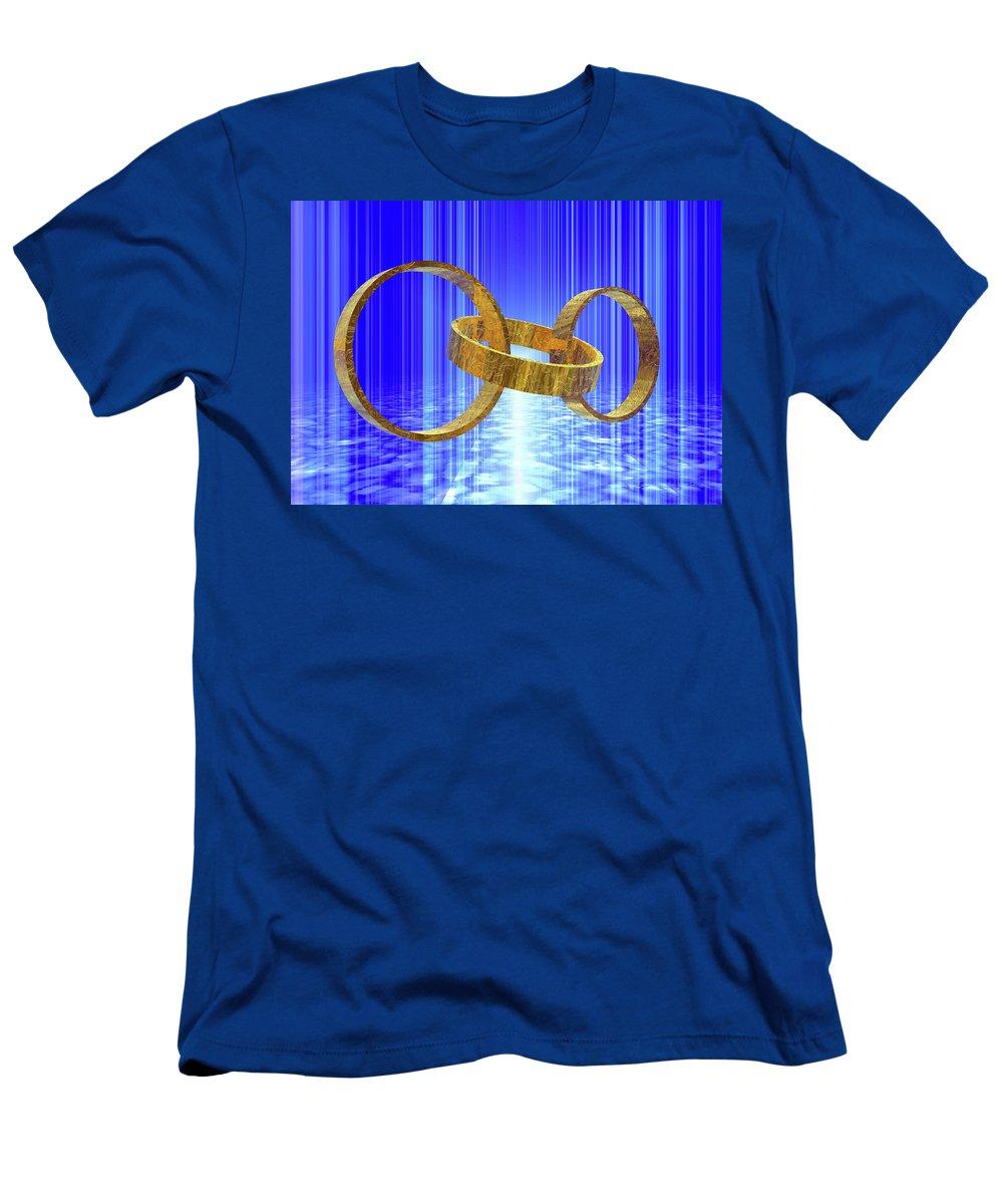 Gold Men's T-Shirt (Athletic Fit) featuring the digital art Magic Rings by Nicholas Burningham