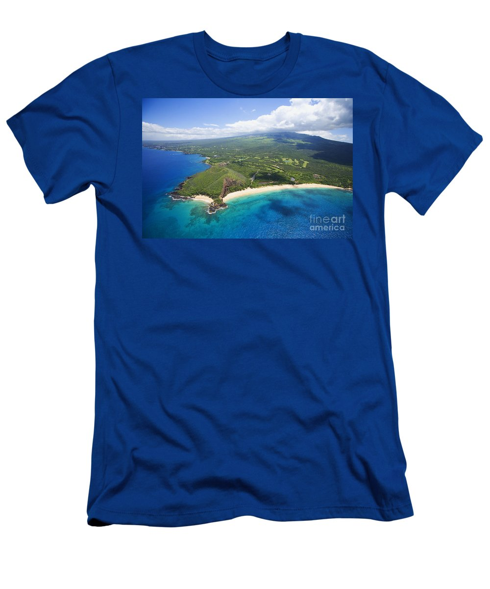 Above Men's T-Shirt (Athletic Fit) featuring the photograph Makena Beach Aerial by Ron Dahlquist - Printscapes