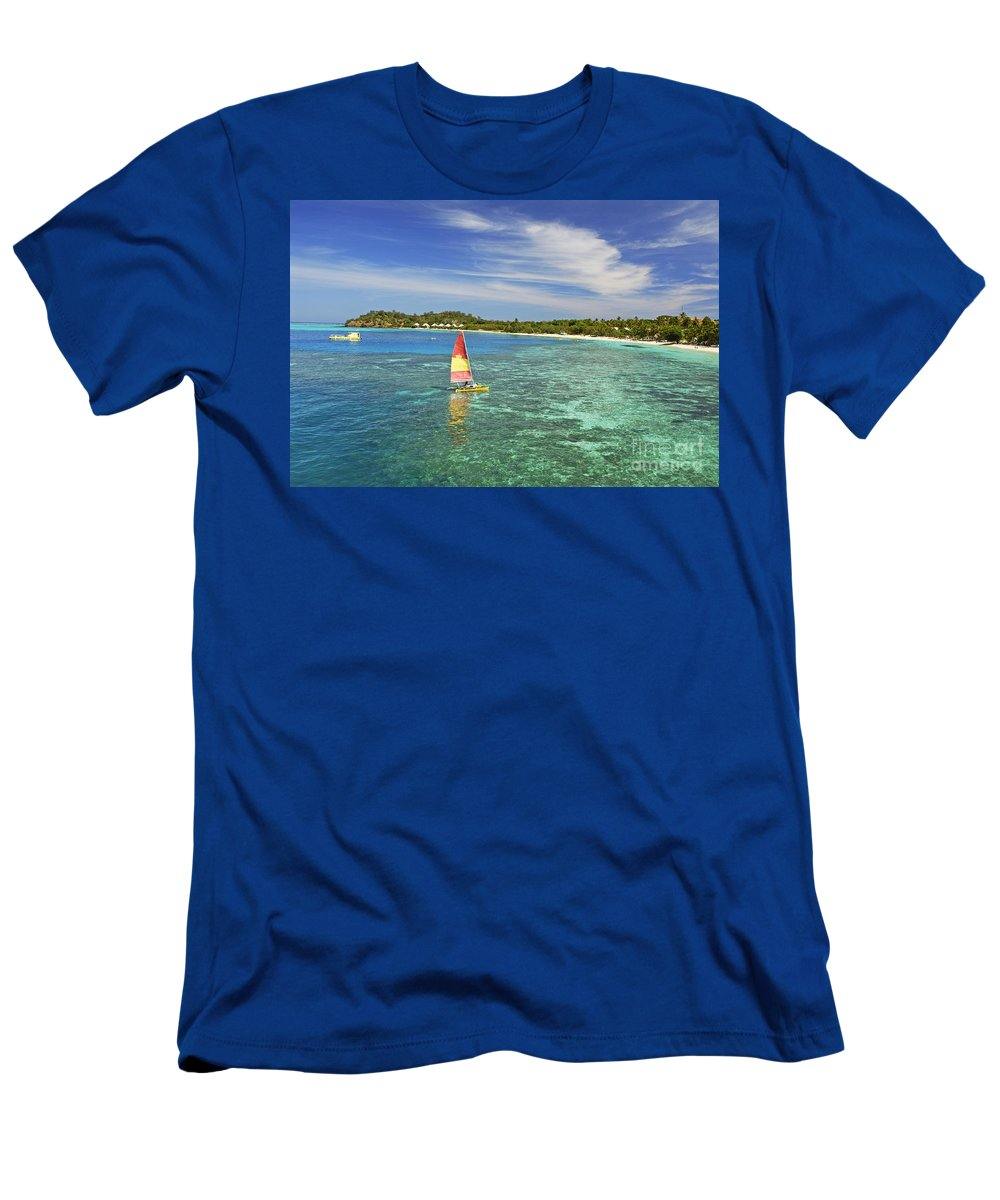 Afternoon Men's T-Shirt (Athletic Fit) featuring the photograph Mana Island Lagoon by Himani - Printscapes