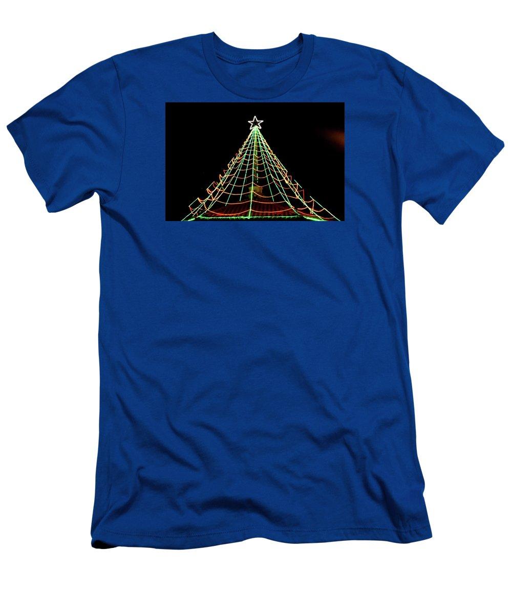 Manhattan Beach Men's T-Shirt (Athletic Fit) featuring the photograph Manhattan Beach Christmas by Art Block Collections