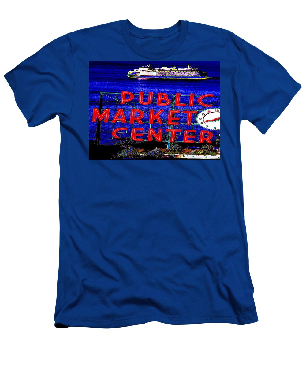 Seattle Men's T-Shirt (Athletic Fit) featuring the photograph Market Clock And Ferry by Tim Allen