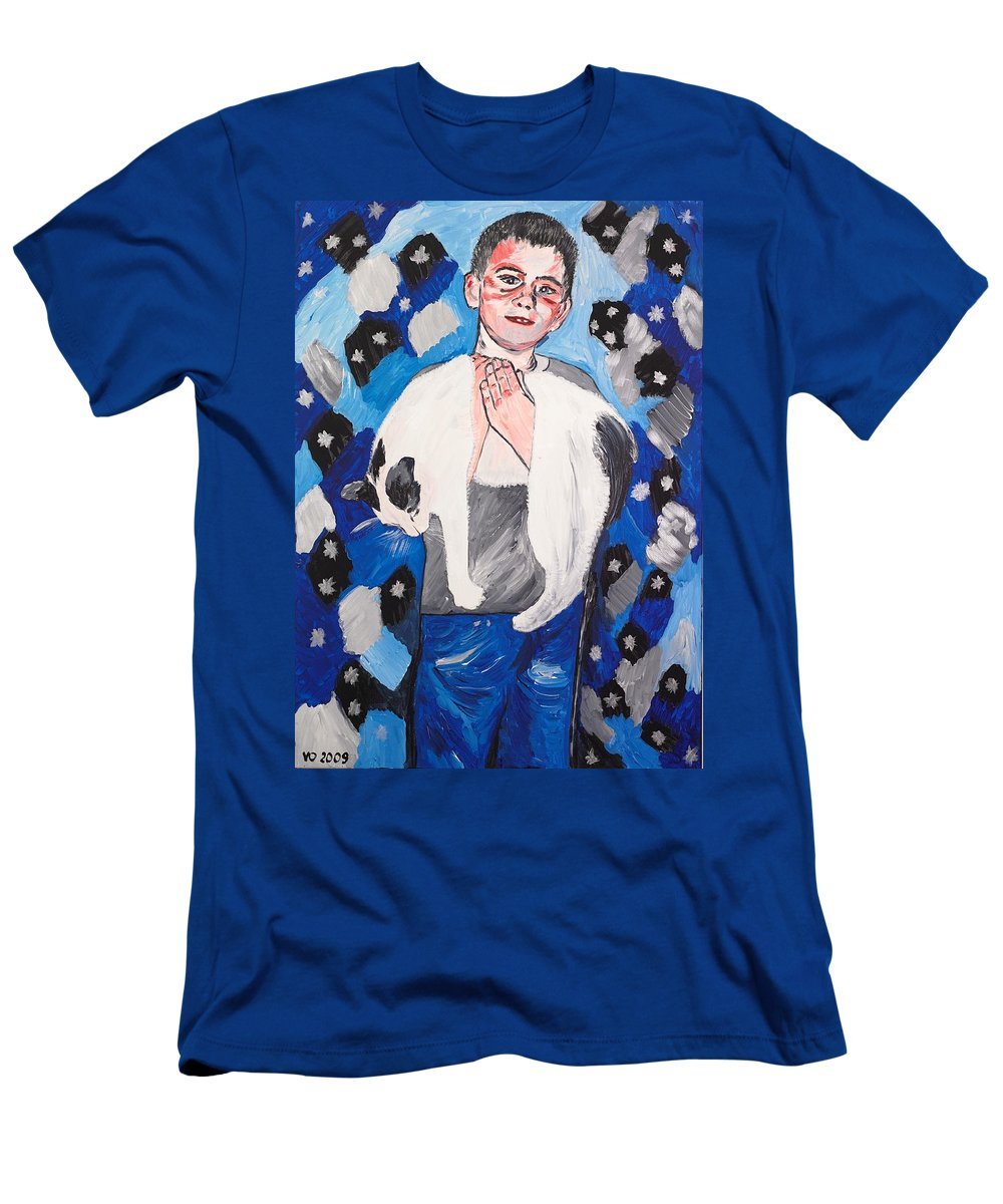 Portrait Men's T-Shirt (Athletic Fit) featuring the painting Max Holding Snowflake by Valerie Ornstein