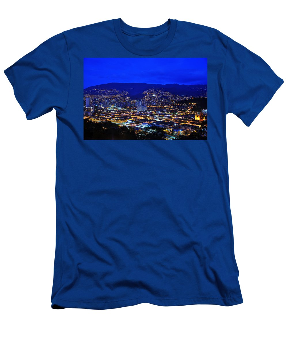 Blue Men's T-Shirt (Athletic Fit) featuring the photograph Medellin Colombia At Night by Jess Kraft